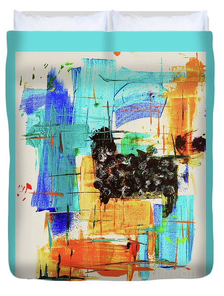 Duvet Cover featuring the painting Black Sheep by Jeanette French
