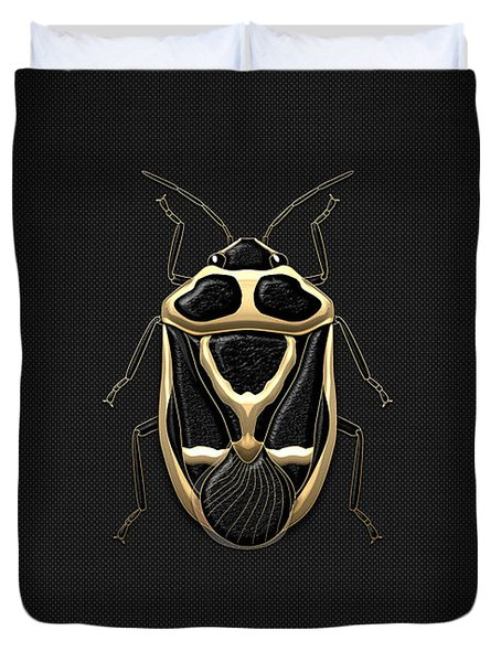 Black Shieldbug With Gold Accents  Duvet Cover