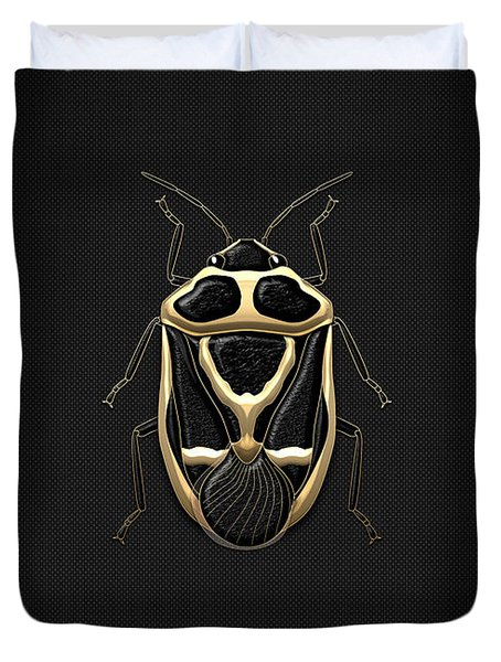 Black Shieldbug With Gold Accents  Duvet Cover by Serge Averbukh