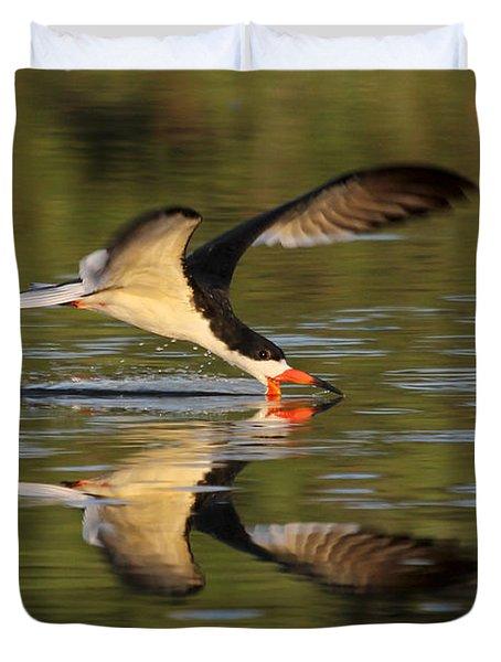 Black Skimmer Fishing Duvet Cover
