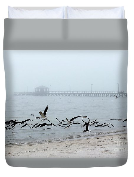 Black Skimmers - Biloxi Mississippi Duvet Cover by Scott Cameron