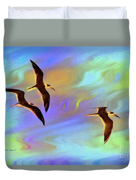 Black Skimmers Three Duvet Cover