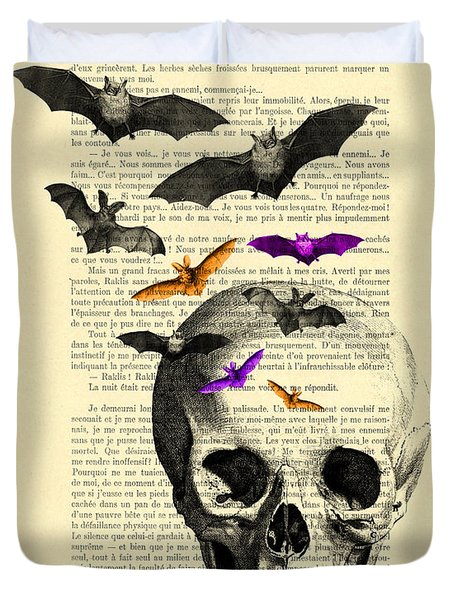 Black Skull And Bats On A Dictionary Page Duvet Cover