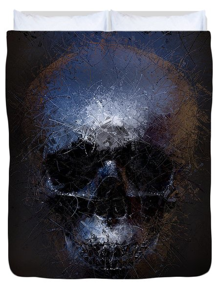 Duvet Cover featuring the digital art Black Skull by Vitaliy Gladkiy