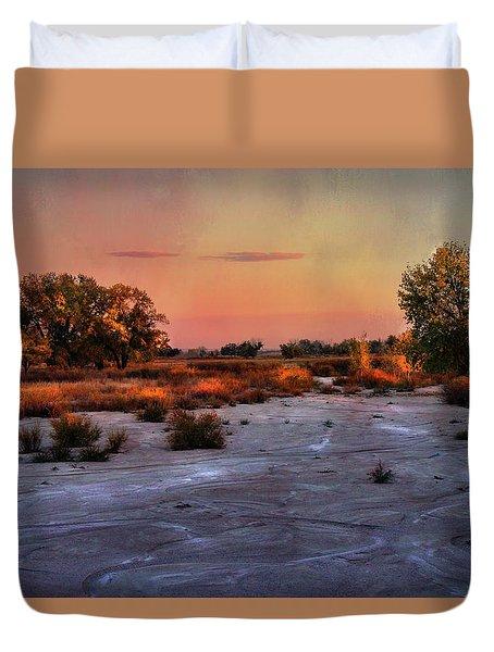 Duvet Cover featuring the photograph Black Squirrel Creek Fall Scape by Ellen Heaverlo
