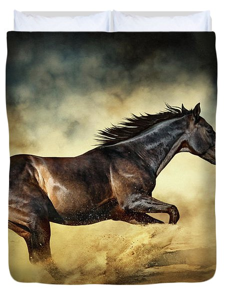 Black Stallion Horse Galloping Like A Devil Duvet Cover