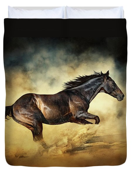 Black Stallion Horse Galloping Like A Devil Duvet Cover