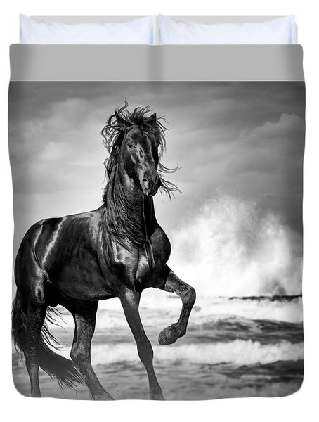 Black Stallion In Waves Duvet Cover