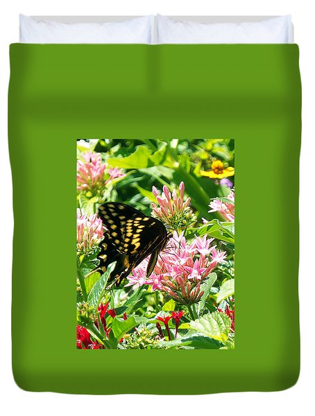 Duvet Cover featuring the photograph Black Swallowtail  000  by Chris Mercer
