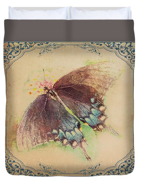 Black Swallowtail Butterfly Framed  Duvet Cover