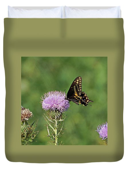 Duvet Cover featuring the photograph Black Swallowtail Butterfly by Sandy Keeton