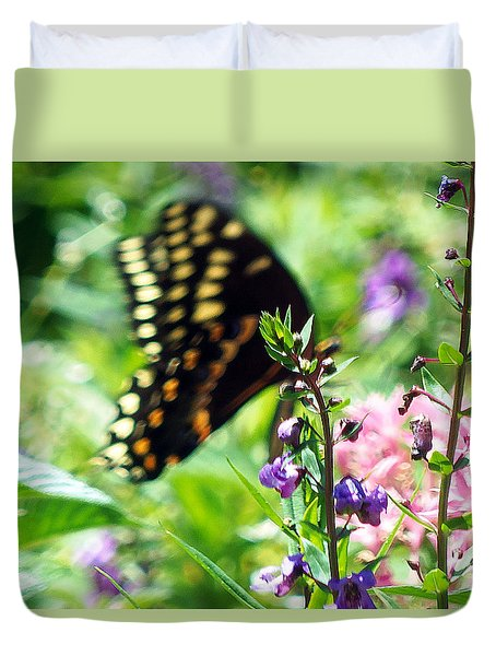 Duvet Cover featuring the photograph Black Swallowtail by Chris Mercer