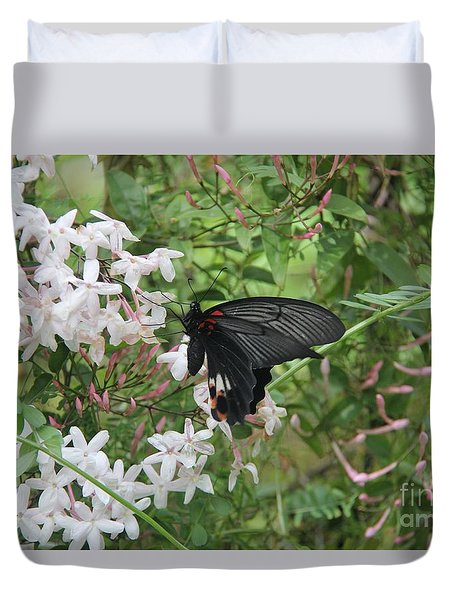 Duvet Cover featuring the photograph Black Swallowtail by Yumi Johnson