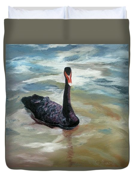 Duvet Cover featuring the painting Black Swan by Roseann Gilmore