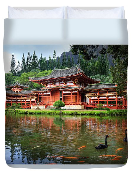 Black Swans At Byodo-in Duvet Cover