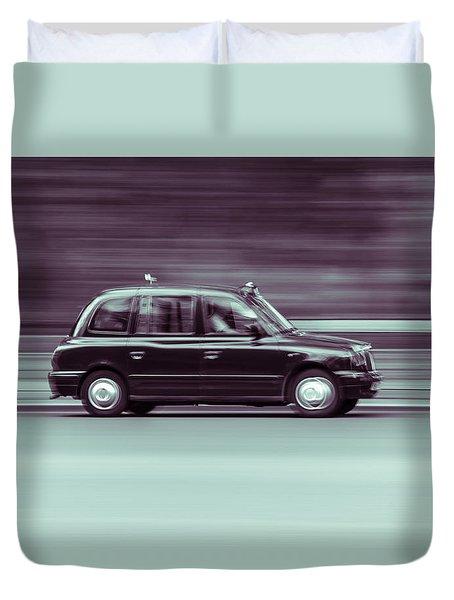 Black Taxi Bw Blur Duvet Cover