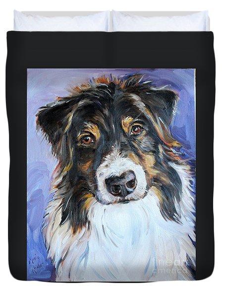 Black Tri Australian Shepherd Duvet Cover