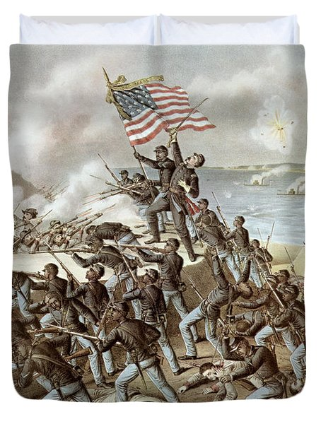 Black Troops Of The Fifty Fourth Massachusetts Regiment During The Assault Of Fort Wagner Duvet Cover by American School