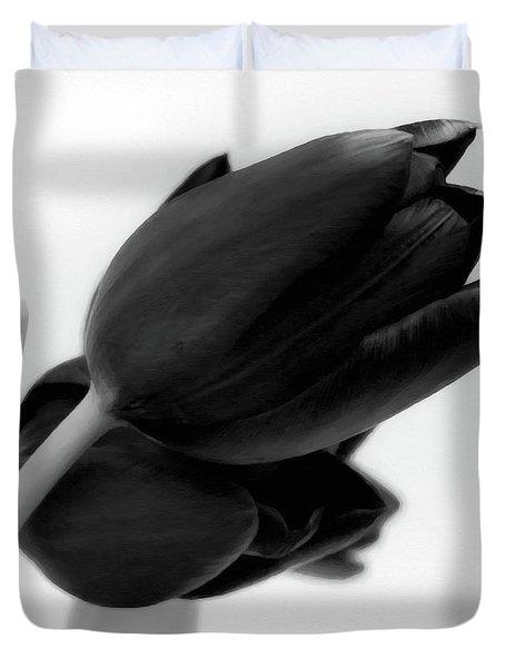 Black Tulips Duvet Cover
