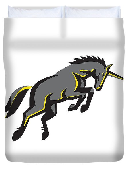 Black Unicorn Horse Charging Isolated Retro Duvet Cover