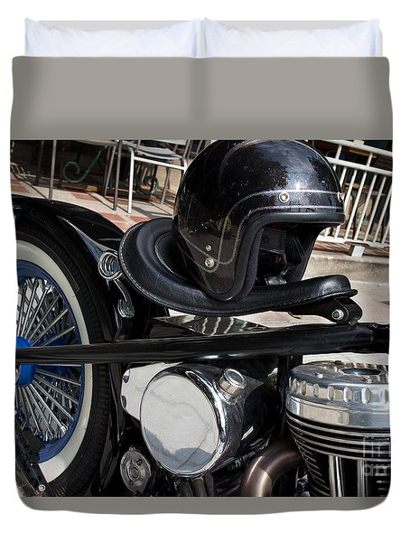 Duvet Cover featuring the photograph Black Vintage Style Motorcycle With Chrome And Black Helmet by Jason Rosette