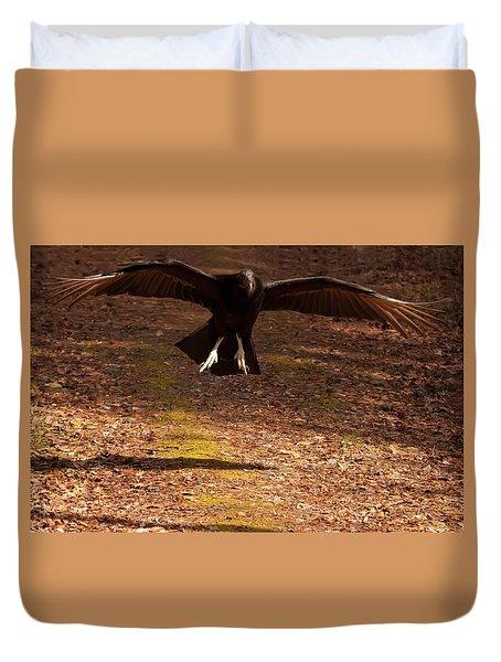 Duvet Cover featuring the digital art Black Vulture Landing by Chris Flees