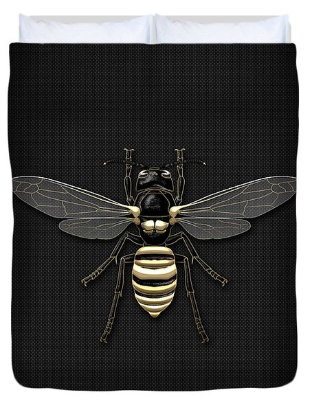 Black Wasp With Gold Accents On Black  Duvet Cover by Serge Averbukh