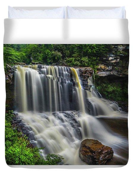 Black Water Falls Duvet Cover