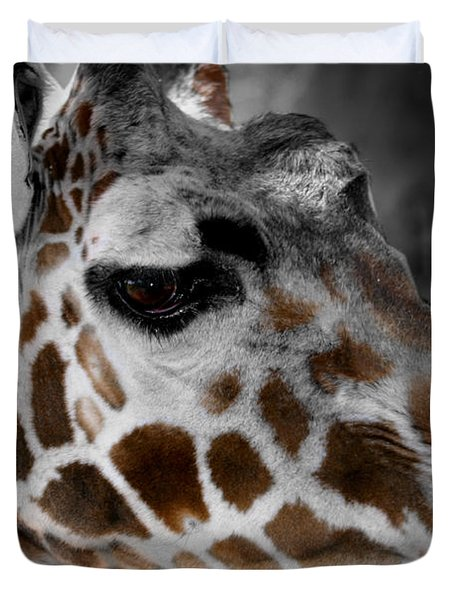 Black  White And Color Giraffe Duvet Cover