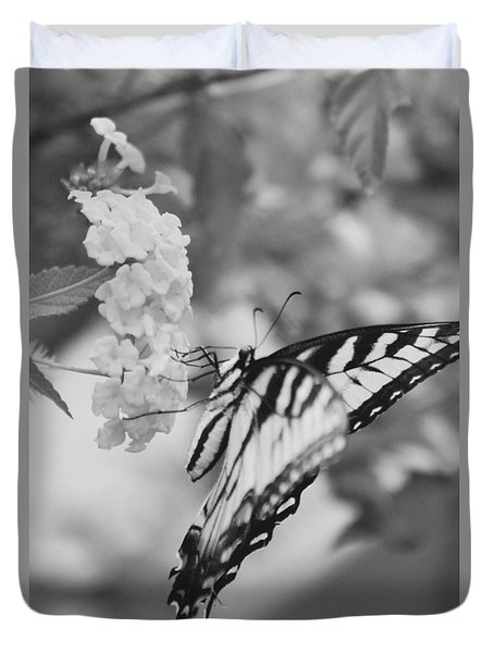 Duvet Cover featuring the photograph Black/white Butterfly by Debra     Vatalaro