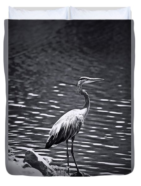 Duvet Cover featuring the photograph Black/white  Heron by Debra     Vatalaro