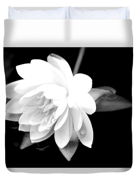 Duvet Cover featuring the photograph Black/white Lotus by Debra     Vatalaro