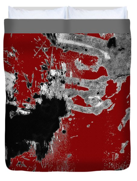 Black White Red Allover  II Duvet Cover by Lee Craig