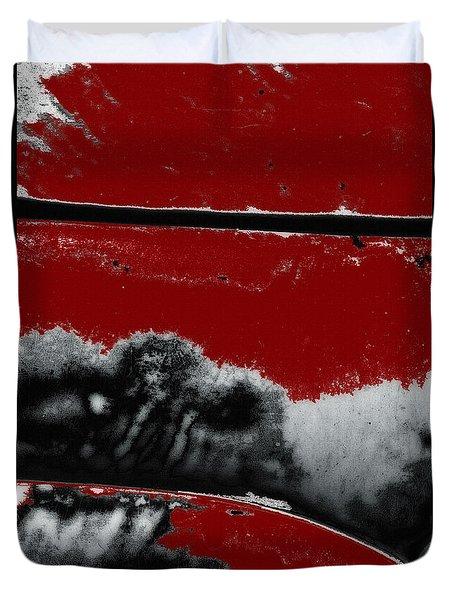 Black White Red Allover  V Duvet Cover