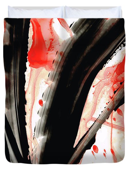 Duvet Cover featuring the painting Black White Red Art - Tango 2 - Sharon Cummings by Sharon Cummings