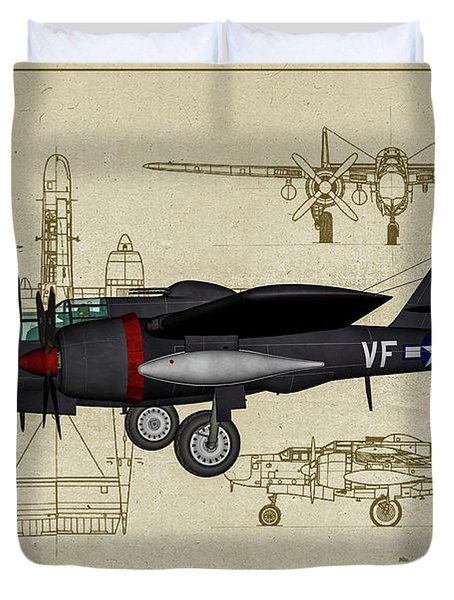 Black Widow Marine - Profile Art Duvet Cover
