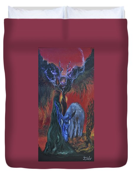 Blackberry Thorn Psychosis Duvet Cover by Christophe Ennis