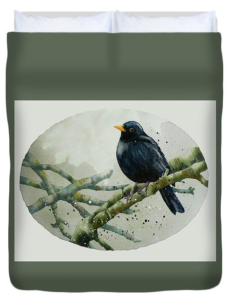 Blackbird Painting Duvet Cover by Alison Fennell