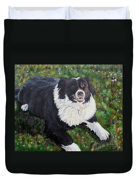 Duvet Cover featuring the painting Blackie by Marilyn  McNish