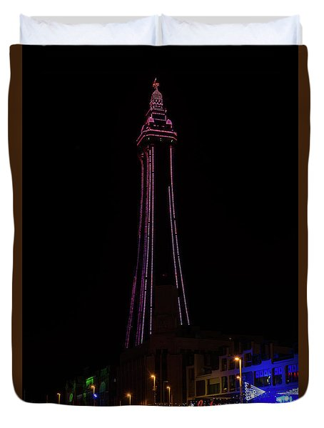 Blackpool Tower Pink Duvet Cover by Steev Stamford
