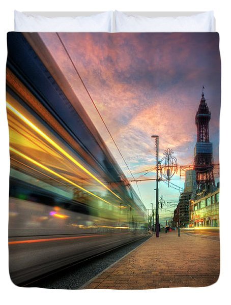 Duvet Cover featuring the photograph Blackpool Tram Light Trail by Yhun Suarez