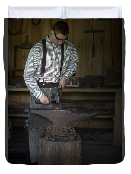 Blacksmith At Work Duvet Cover