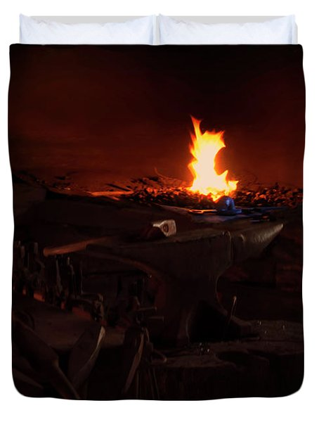 Duvet Cover featuring the digital art Blacksmith Shop by Chris Flees
