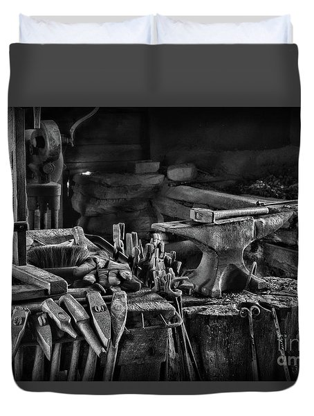 Blacksmith-this Is My Anvil Black And White Duvet Cover