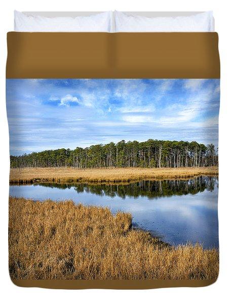 Blackwater National Wildlife Refuge In Maryland Duvet Cover by Brendan Reals
