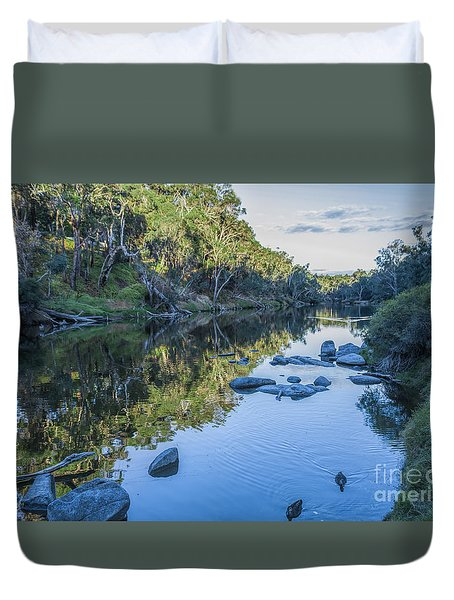 Blackwood River Rocks, Bridgetown, Western Australia Duvet Cover by Elaine Teague
