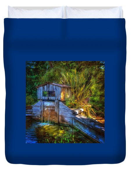 Duvet Cover featuring the photograph Blakes Pond House by Thom Zehrfeld