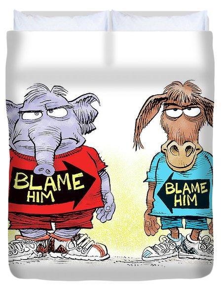 Blame Him Duvet Cover