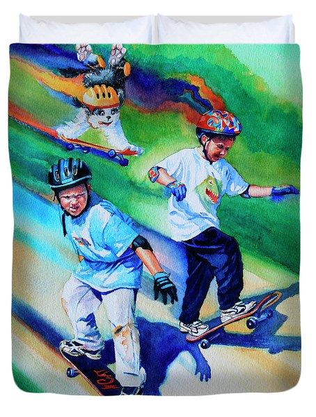 Blasting Boarders Duvet Cover by Hanne Lore Koehler