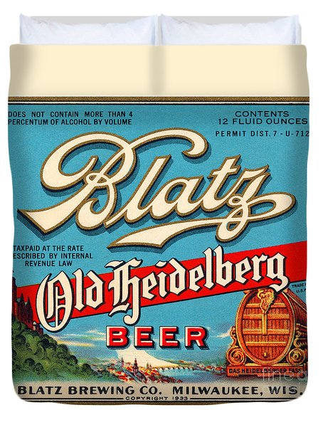 Blatz Old Heidelberg Vintage Beer Label Restored Duvet Cover